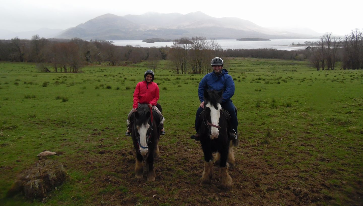 Magge and Abe each on a horse in Killarney National Park.