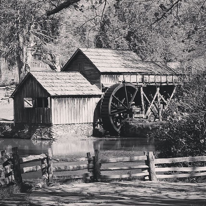 Black and white photo of Mabry Mill.